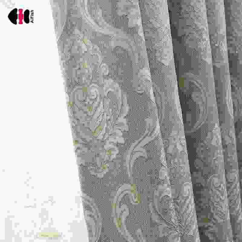 European Damask Curtains Luxury Jacquard Blind Drapes Window Treatment Panel Living Room Wedding Gauze WP245C