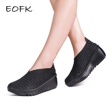 EOFK 2017 Breathable Women Woven Shoes loafers Handmade Elastic Woven Slip On Nylon Platform Wedges Shoes Woman(China)