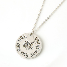 "2015 New Fashion Jewelry ""you are my sunshine"" Letter Pendant Necklace women Necklace Love Gifts free shipping"