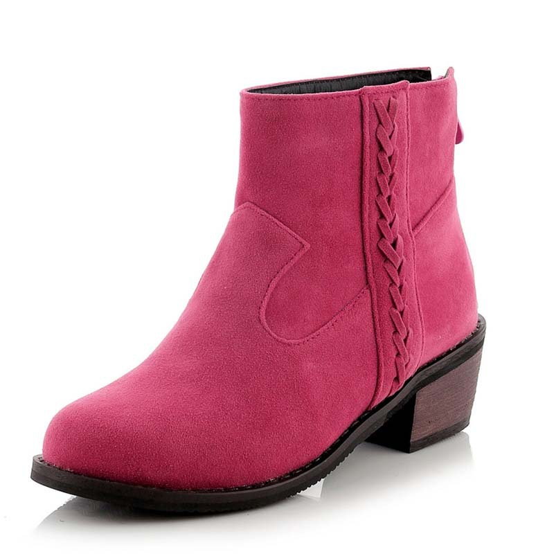 ENMAYLANew Motorcycle Boots Autumn Winter Women Fashion Platform Boots Outdoor Mid High Heels Shoes Women Ankle Boots for Women<br>