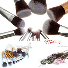 11Pcs Set Makeup Brushes Cosmetics Tools Bamboo Handle Eyeshadow Lipsticks Face Cosmetic Makeup Brush Blush Soft Brushes Kit NEW(China)