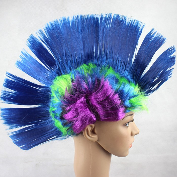 WholeSale Synthetic Wigs Peruca Free Shipping Synthetic Hair Cheap Mohawk Punk Cosplay Colored Rainbow Costume Wigs 10pcs/lot<br><br>Aliexpress