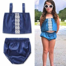 new Lace division Jumpsuit set summer girls kids dress clothing baby girl Triangle Denim shorts fashion Harness clothes(China)