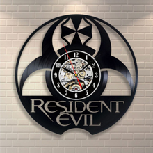 Free Shipping 1Piece Retro Resident Evil CD Vinyl Record Wall Clock Cut-Out LP Clock Personalized Creative 3DTime Clock Wall Art