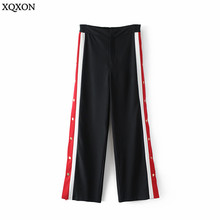 High Street Side Buttons Color Stitching Wide Leg Pants Women 2018 New Fashion Sweatpants Loose Full Trousers Casual Pantalon(China)
