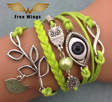 Turkey bird owl evil eye Jewelry Leaf Owl Handmade Bracelet Charms Bracelet Leather Bracelet Women Men Vintage Infinite Wrap