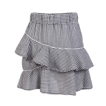 Black white gingham layered ruffle mini skirts for women stretchy high waisted asymmetric skirts ladies casual irregular skirts