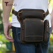 Designer 100% Cow Leather Waist Pack Leg Bag Mens Fanny Pack Vintage Solid Trunk Bum Bag Hip Pouch Belt Bags Dark Brown Tiding