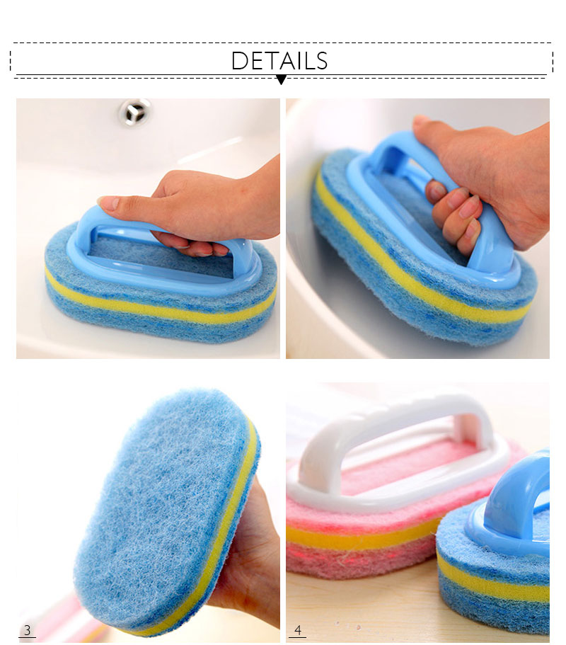 Kitchen Cleaning Bathroom Toilet Kitchen Glass Wall Cleaning Bath Brush Plastic Handle Sponge Bath Bottom 5