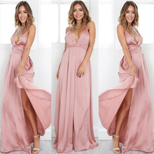 Ebay2017 European Summer Suit-dress Sexy Pink Colour Sleeveless Low Chest Crossing Bandage Reveal Back Drive A Car Dress(China)
