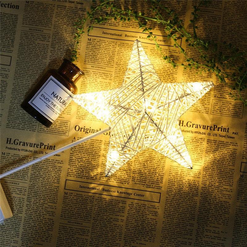 Chiclits 40CM Star Heart Shape LED Night Light Grass Rattan Woven Battery Power Girls Bedroom Decorative Table Lamp Kid Gift Toy (13)