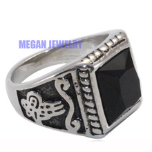 silver plating muslim Turkish Ottoman stainless steel ring , Islam Retro fashion Arab jewelry & gift(China)
