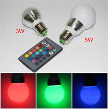 16 Colors 3W 5W RGB LED Lamp AC 110V 220V E27 Spotlight Bulb Christmas Holiday Decor Atmosphere Night light With 24Key IR Remote