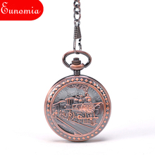 Train To Travel Rose Gold Roman Numbers Mechanical Pocket Watch With Key Chain Round Skeleton Steampunk New Designer Watch