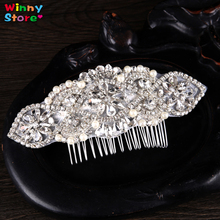 Pure Handmade Silver Crystal Flower Wedding Hair Comb Clip Luxury Rhinestone Lace Party Prom Headdress Pearl Hair Jewellery(China)