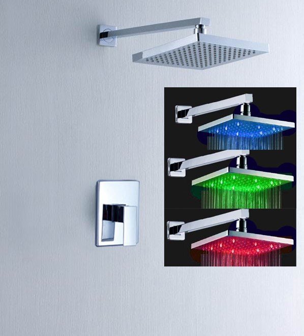 LED Light 3 Color Temperature Sensor Bathroom Shower Faucet  Mixer Single Handle Water Tap torneira chuveiro ducha<br><br>Aliexpress