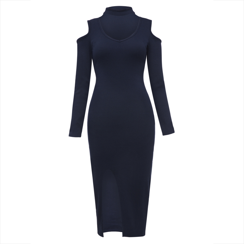 Young17 Autumn Dress Women 2017 Dark Blue Knitted Bodycon V-Neck Mid-Calf Hollow Plain Sexy Dress Fall Bodycon Dress