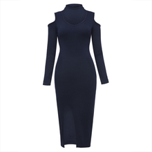 Buy Young17 Autumn Dress Women 2017 Dark Blue Knitted Bodycon V-Neck Mid-Calf Hollow Plain Sexy Dress Fall Bodycon Dress for $18.54 in AliExpress store
