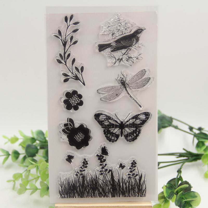 1 sheet DIY Cordyceps flowers and birds butterfly Design Transparent Clear Rubber Stamp Seal Paper Craft Scrapbooking Decoration<br><br>Aliexpress