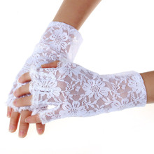 spring and summer womens sunscreen short gloves fashion sexy fingerless lace semi-finger driving gloves(China)