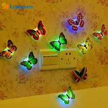 Lumiparty Fashion 5pcs Flashing Colorful Butterfly night light baby bedside lights Indoor lighting decorations Party Nightlights(China)
