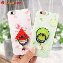 Fruits Soft TPU Cover for iPhone 6 6s Case 6Plus 6s Plus Case Cover Orange Watermelon Lemon Strawberry Ring Holder Phone Fundas(China)