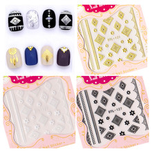 3 COLORS ROUND TYPE 3D 2016 newest nail art stickers decal stamping seal nail tools  3D nail art sticker