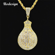 Uodesign HIP Hop Gold Color Iced Out Bling US Dollars Purse Pendants Necklaces for Men Jewelry(China)