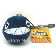 "Free Shipping EMS 100/Lot New Super Mario Bros. Plush Chain Chomp 3"" Charm Straps for Cell Phone iPod MP3 Wholesale"