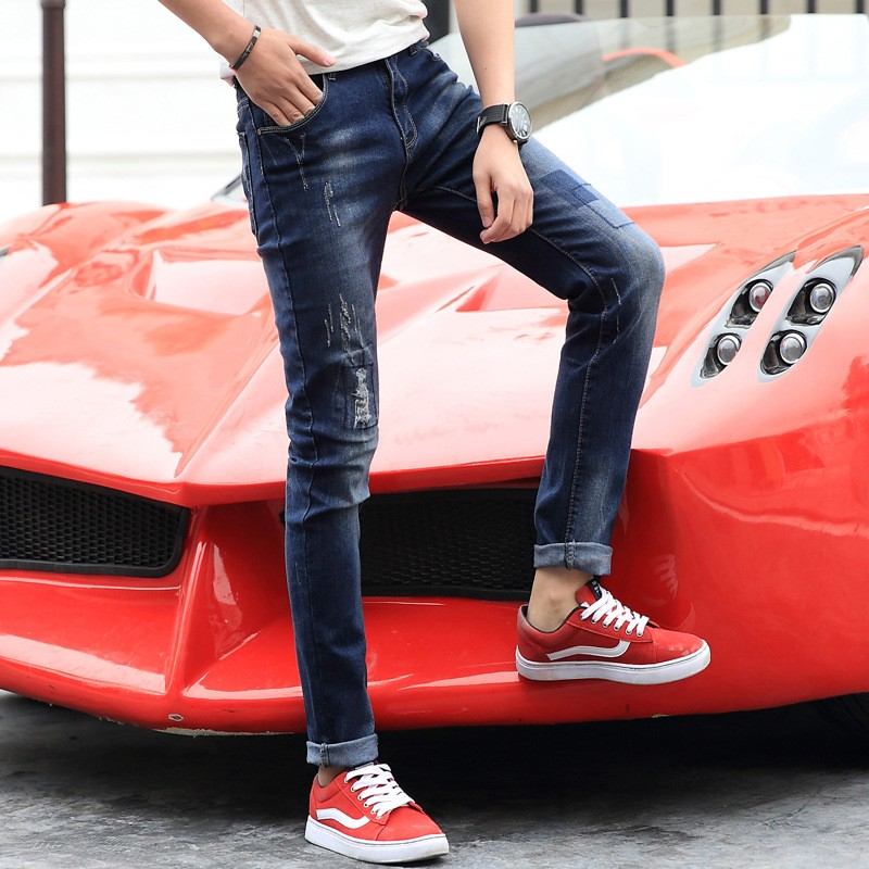 2017 New Arrival Fashion Black Color Slim Straight Leisure &amp; Casual Brand Jeans Men,Hot Sale Denim Cotton Men Jeans,QYX1805Одежда и ак�е��уары<br><br><br>Aliexpress