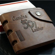 New Fashion 2015 Men Short Wallets & Fine Bifold Brown Brand Retro Design Style Wallet Faux PU leather Wallets for Men
