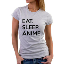 Buy Funny Slogan Printed Eat Sleep Anime T-Shirt Women Clothes Harajuku Black White Tee Shirt Woman Punk Lazy Casual T Shirt Femme for $6.93 in AliExpress store