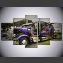 5 Panels Modern Printed Canvas Oil Painting Picture Decoration Picture For Living Room Unframed Canvas Purple Truck  Aug130