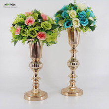 12PCS/LOT Gold Tabletop Vase Metal Flower Vase Table Centerpiece For Mariage Metal Flowers Vases For Wedding Decoration 002(China)