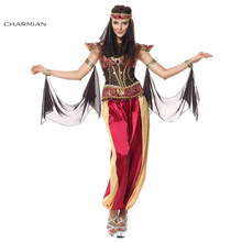 Charmian Women's Deluxe Arab Queen Of Egypt Halloween Cosplay Costume Sexy Fancy Desert Jewel Sleeveless Plus Size Costume