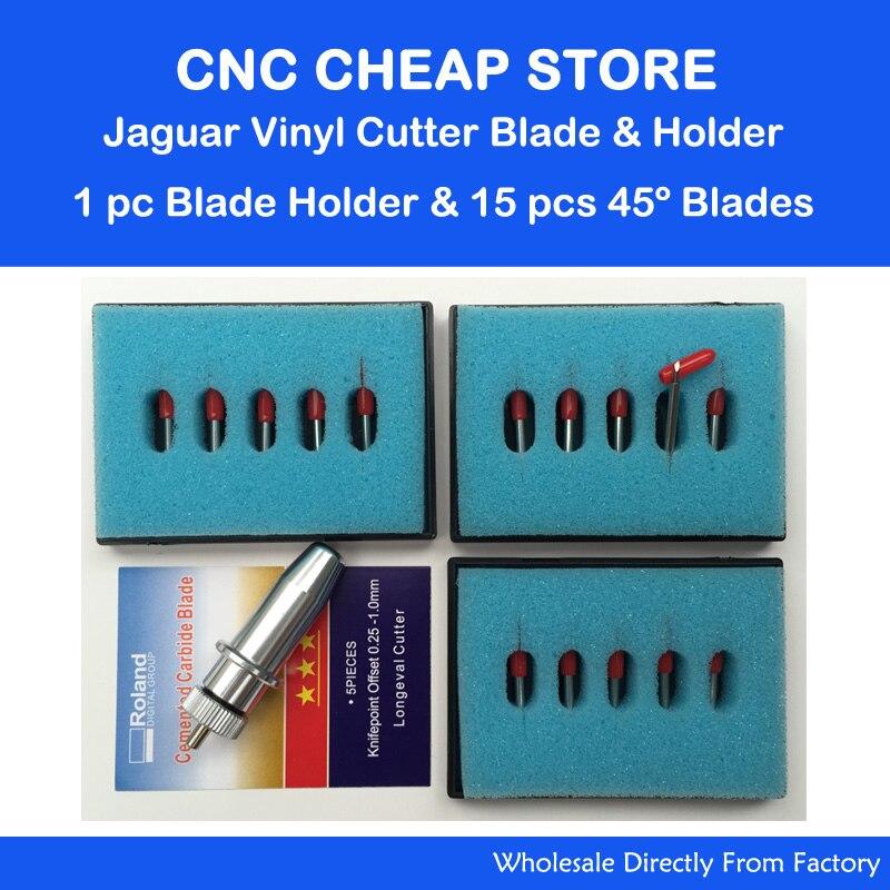 1pc Jaguar Gcc Cutting Plotter Signpal Vinyl Cutter Blade Holder + 15pcs Roland 45 degree Blades<br>