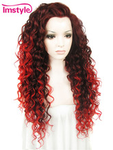 "Imstyle Wavy Synthetic auburn Red ombre color 26"" lace front wig(China)"