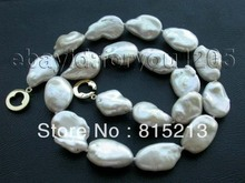 "ddh001042 17.5"" Genuine Natural 22mm White Reborn Keshi Pearl Necklace 14KGP! 28% Discount"