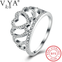 V.Ya 100% 925 Sterling Silver Hearts Tiara, Clear CZ Women Finger Ring Compatible with Original Bijoux Wedding,Mother Day's Gift