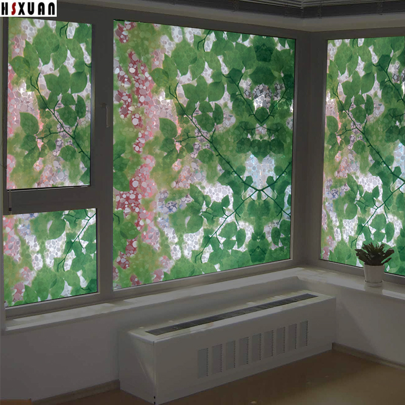 sliding door window stickers 92x100cm 3d pebbles leaf tint decorative self adhesive glass static window film Hsxuan brand 920615(China (Mainland))
