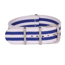 Buy 2 Get 20% OFF) Stripe Cambo White Blue Watch 18 mm Army Military nato fabric Nylon watchbands Strap Bands Buckle belt 18mm