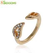 8SEASONS Two Anti-drilling Leaves Rings Vintage Woman Couple Female Rings Influx Fashion Jewelry gold-color dull silver-color
