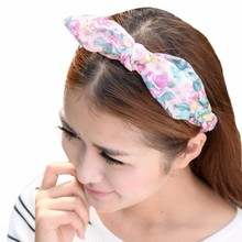 Fashion Rose Flower Print Bowknot Headband Women Rabbit Head Hair Band  Lady Girls Elastic Turban Scarf Headdress #ZYL