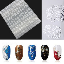 Hot Silver 3D Nail Art Stickers Decals,108pcs/sheet Metallic Flowers Mixed Designs Nail Tips Accessory Decoration Tool(China)