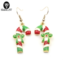 Christmas Earrings Candy Cane Christmas Gift Walking stick Bowknot Drop Earrings Handcrafted Christmas Earrings For Women Girls(China)