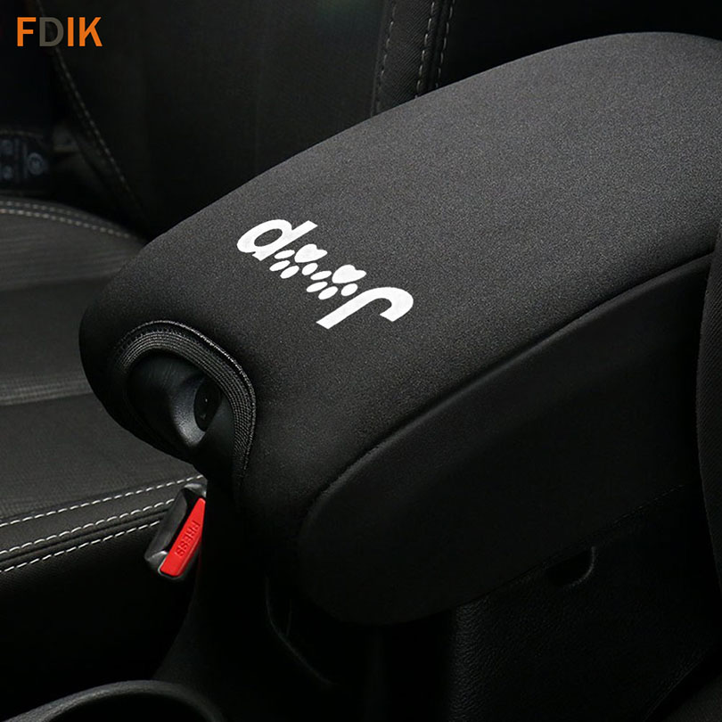 F1 Black Auto Armrest Cover For Center Armrest Console Console Lid Cover