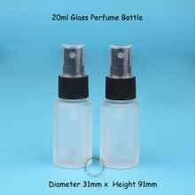 20pcs/Lot Wholesale Glass Frosted 20ml Perfume Bottle with Sprayer Cap Cosmetic Packaging 20cc Plastic Atomizer Lid Refillabble