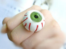 New Harajuku Bloodshot Eyeball Blue Green Ring Personalized Costume Eye Rings Gothic Punk Rock Jewelry Hallowmas Gifts R029