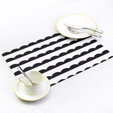 Home Decor Black White Stripe Place Mat Linen PVC Table Mat Dishware Coasters For Kitchen Accessories Wedding Party Decoration(China)
