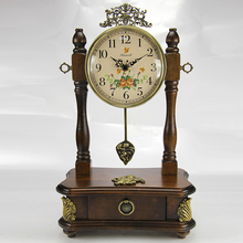 Retro Wooden Desk Clock Vintage Home Fashion Creative Clock Jumping Movement Pendulum De Mesa For The living room KZ207